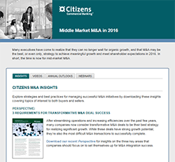 Citizens Capital Markets and M&ampA